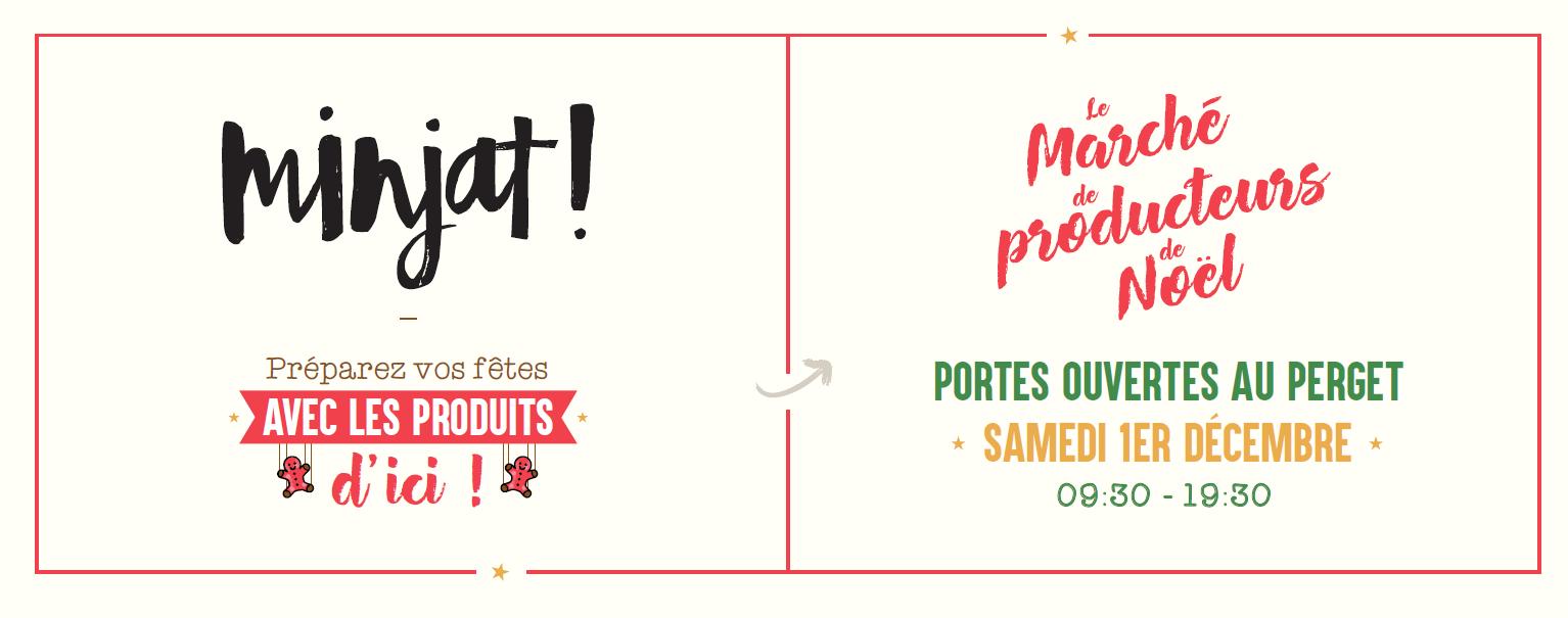 Minjat! organise un marché de Noël de producteur le 1er décembre 2018.