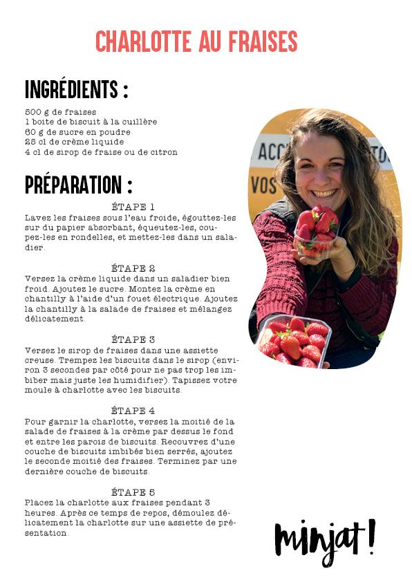 Minjat recette charlotte aux fraises