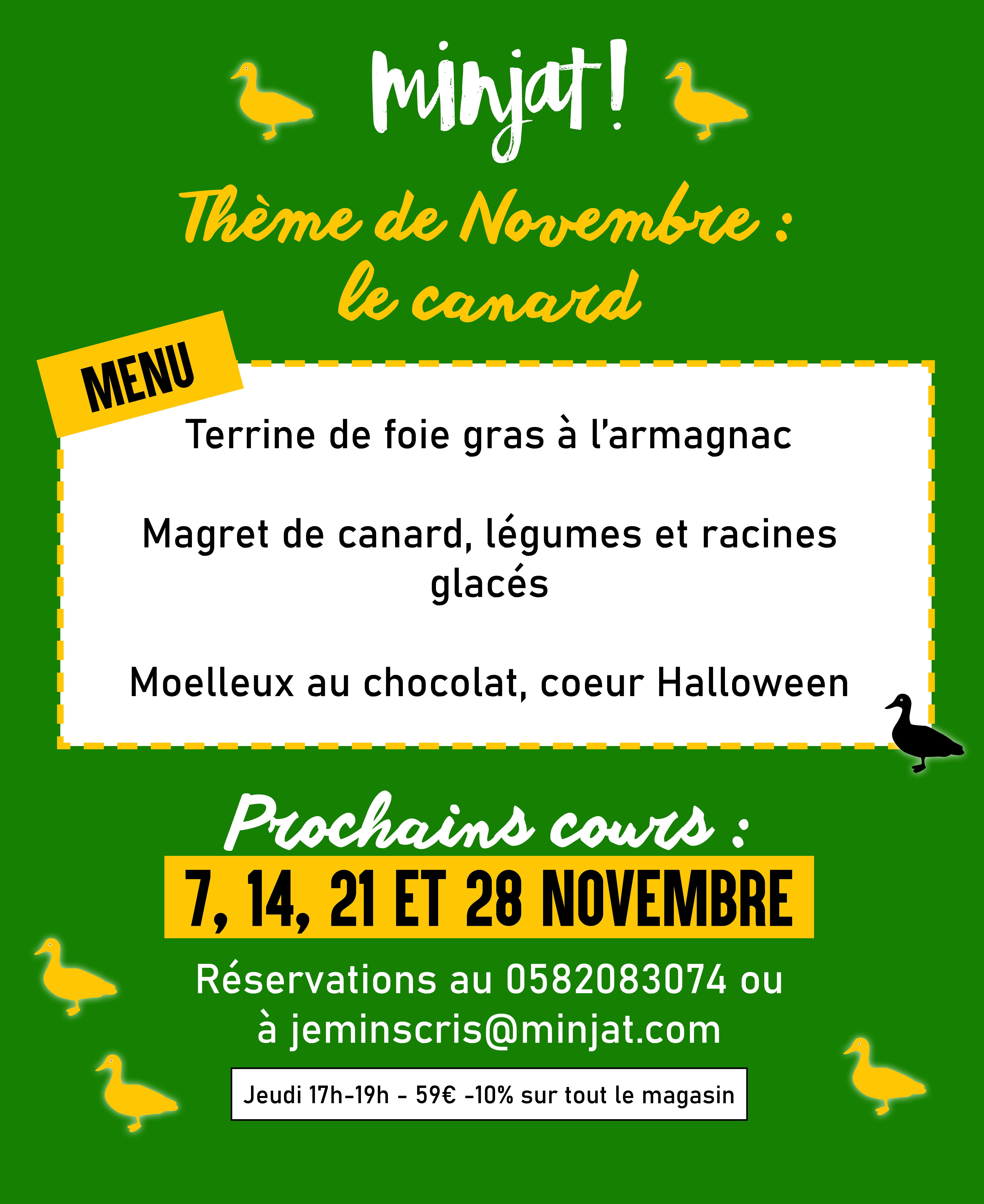 COURS DE CUISINE NOVEMBRE : LE CANARD